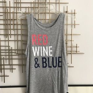 Red Wine and Blue Patriotic July 4 Muscle TShirt